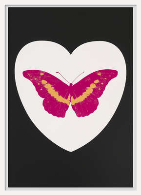I Love You - white, black, fuchsia, cool gold by Damien Hirst