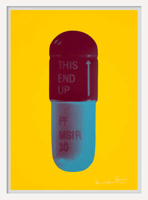 Curated pastel artworks: The Cure - Sunflower Yellow/Merlot/Sapphire by Damien Hirst