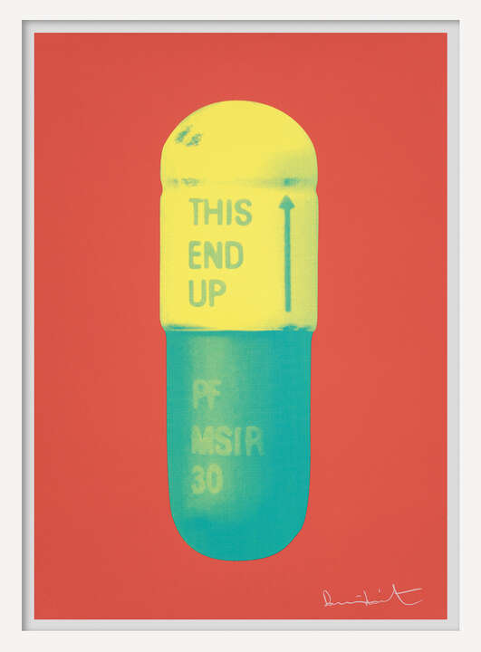 The Cure - Coral/Lemon Yellow/Turquise by Damien Hirst