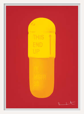 Curated yellow artworks: The Cure - Fire Red/Sun Yellow/Fire Orange by Damien Hirst
