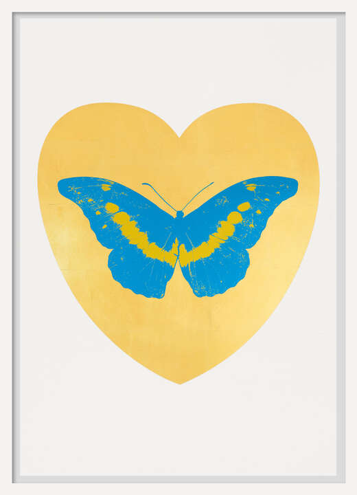 I Love You - gold leaf, turquoise, oriental gold by Damien Hirst