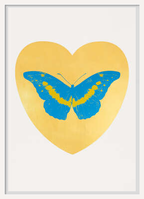 animal wall art:  I Love You - gold leaf, turquoise, oriental gold by Damien Hirst
