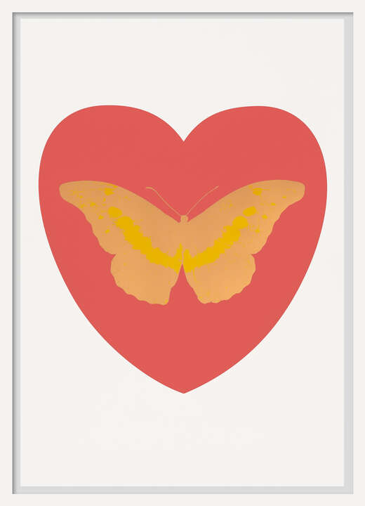 I Love You - coral, cool gold, oriental gold by Damien Hirst
