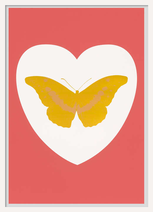 I Love You - white, coral, oriental gold, cool gold von Damien Hirst