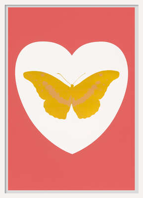 animal wall art:  I Love You - white, coral, oriental gold, cool gold by Damien Hirst