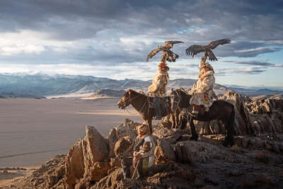 landscape art prints: Mongolia Eagle Hunters II by Daniel Kordan
