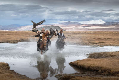 nature wall art and landscape prints  Mongolia Eagle Hunters III by Daniel Kordan