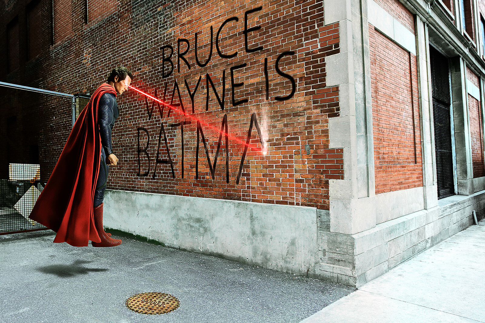 bruce wayne graffiti von daniel picard lumas. Black Bedroom Furniture Sets. Home Design Ideas