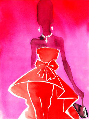 Fashion Wall Art:  Red Couture Valentino dress with evening bag  by Eduard Erlikh