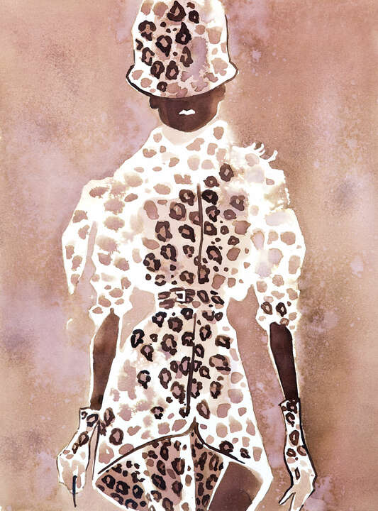Givenchy Couture leopard suit with a hat de Eduard Erlikh
