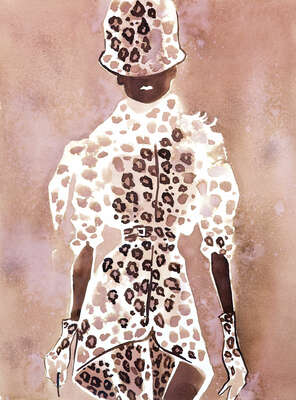 Givenchy Couture leopard suit with a hat by Eduard Erlikh