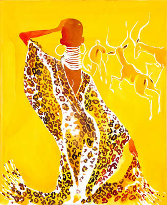 Curated abstract yellow artworks: YSL Safari leopard caftan by Eduard Erlikh