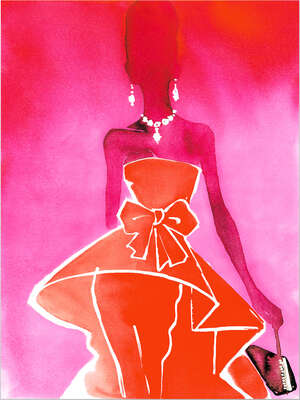 Kitchen Wall Art: Red Couture Valentino dress with evening bag by Eduard Erlikh