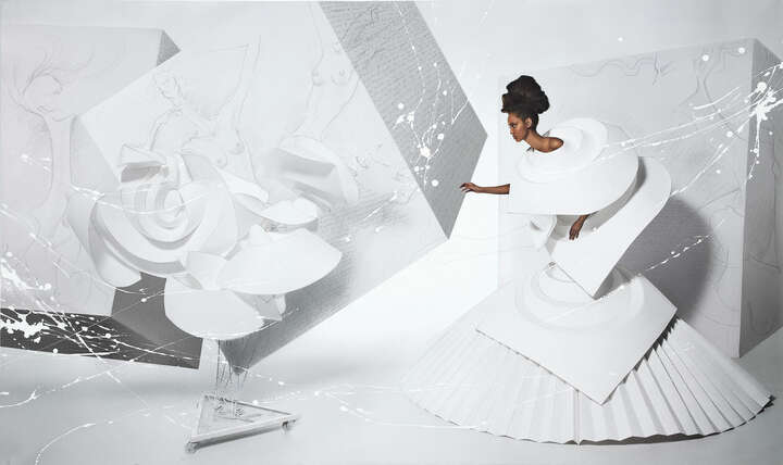 Black Girl in Origami dress with rooster by Efren Isaza