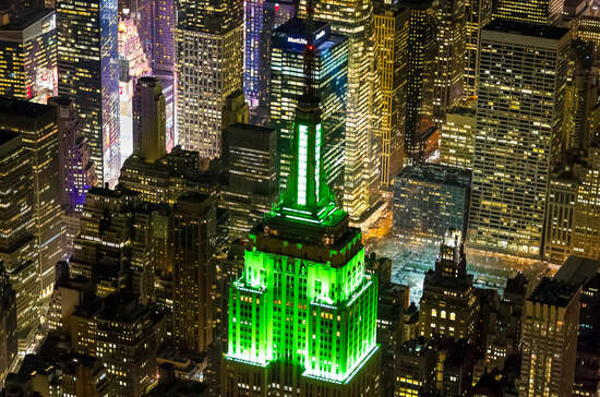 The Empire State Building on St. Patrick's Day
