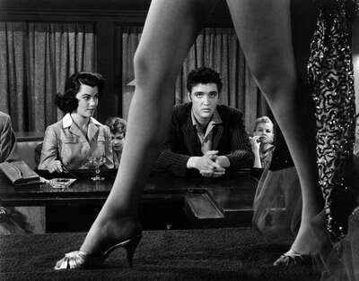 curated black and white art: Peggy (Judy Tyler) und Vince (Elvis Presley) by Richard Thorpe