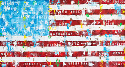 Pop Art prints: New York Flag by Freddy Reitz