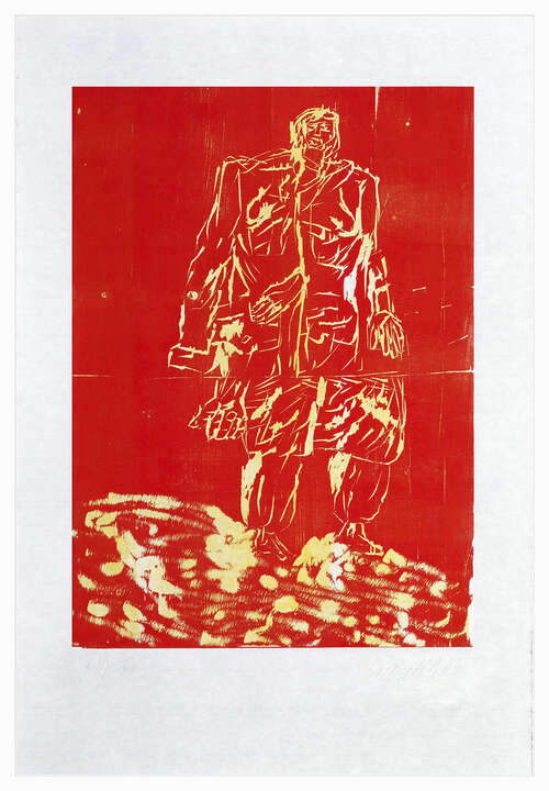 Remix, Mantel (Version Rot/Gelb) by Georg Baselitz