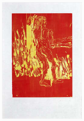 Abstrakte Kunst  Remix, Rute (Version Rot/Gelb) de Georg Baselitz