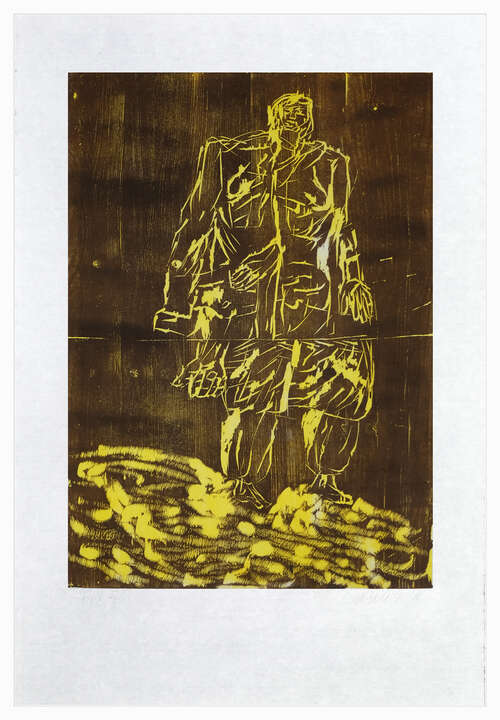 Remix, Mantel (Version Braun/Gelb) by Georg Baselitz