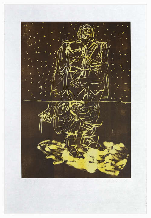 Remix, Hirte (Version Braun/Gelb) by Georg Baselitz