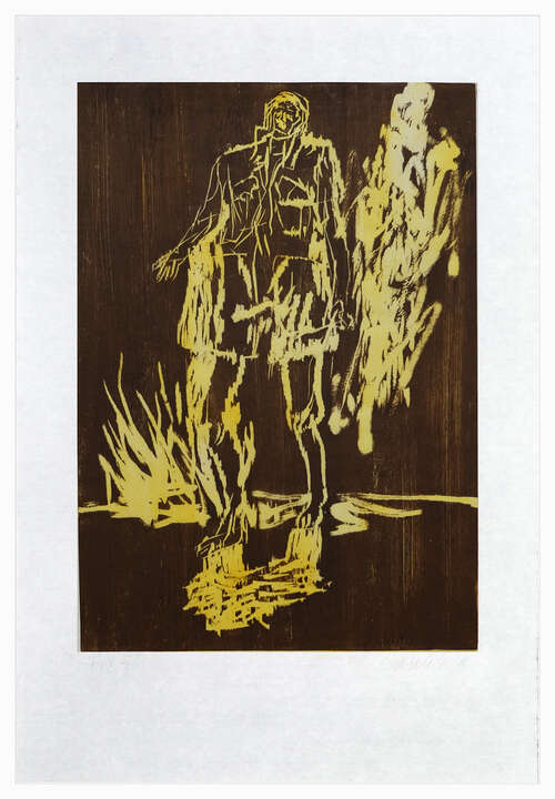 Remix, Partisan (Version Braun/Gelb) by Georg Baselitz