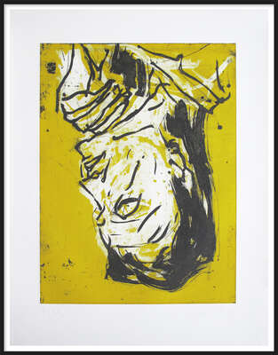 Curated abstract yellow artworks: Elke VII by Georg Baselitz