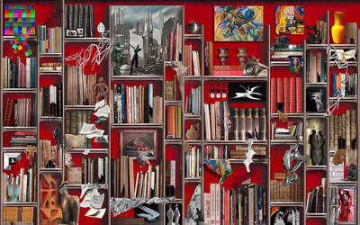 Surrealism photography: The dreamlike bookcase by Giorgio Lo Cascio