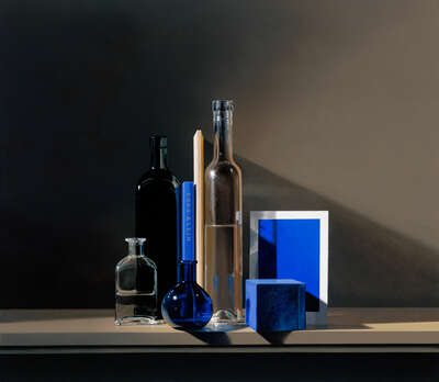 Curated blue artworks: Still life with Yves Klein Blue by Guy Diehl