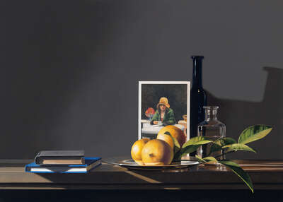 Stillleben Kunstdruck: Still life with Edward Hopper von Guy Diehl