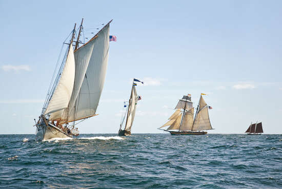 Schooners Racing off Gloucester Harbor