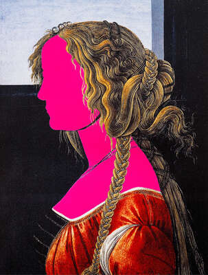 Curated abstract pink artworks: Pink Portrait by Gazi Sansoy