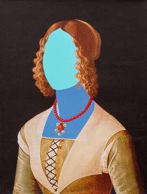 famous artists and old masters: Blue Portrait by Gazi Sansoy