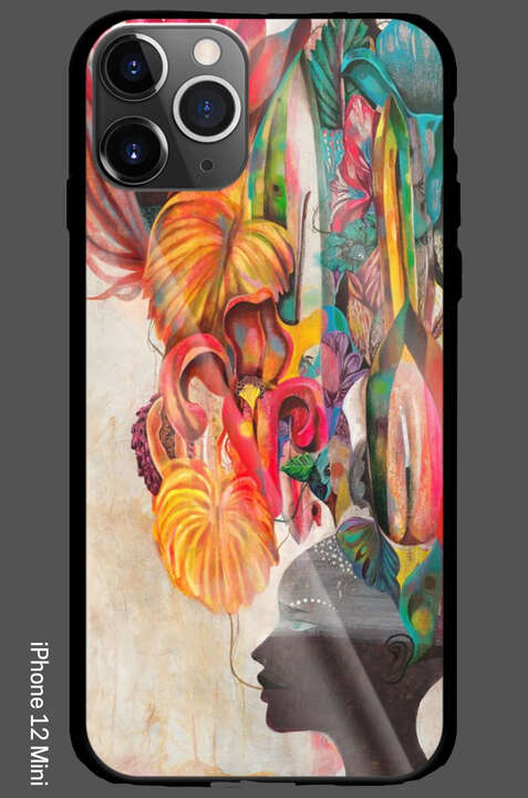 iPhone 12 Mini - Strange Flowers Black Paradise von Olaf Hajek