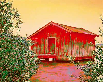 Impressionist Landscape Paintings by Harald Klemm: red paradise house by Harald Klemm