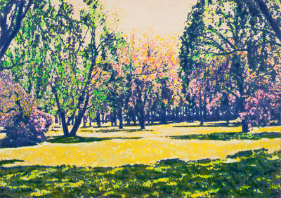 Art Prints: LUMAS paintings: summer side park by Harald Klemm