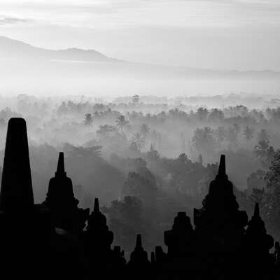 Popular Black and White Prints: Silhouette Borobudur by Hengki Koentjoro