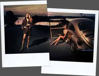 nude photography:  M with golden VW Beatle by Ivo Von Renner