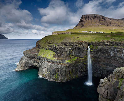 Lumas landscape art: Múlafossur Waterfall, Faroe Islands by Jonathan Andrew