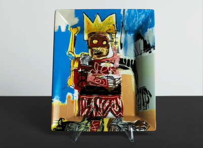 Gifts for couples: YELLOW CROWN & BONE - Tray by Jean - Michel Basquiat
