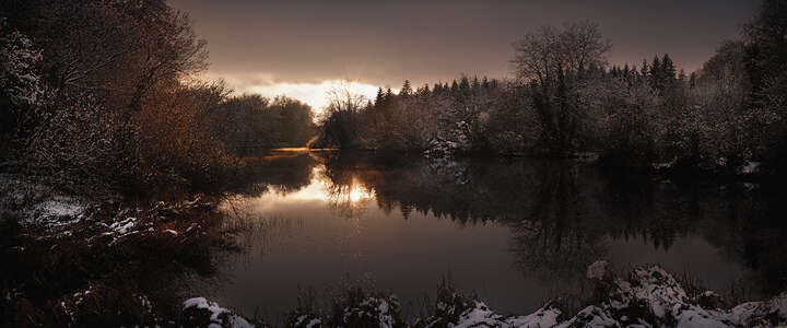 St. Giles House Lake, Winter View by Justin Barton