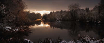 St. Giles House Lake, Winter View von Justin Barton