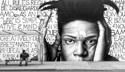 Popular Black and White Prints: Basquiat - Brooklyn by Joseph Cela