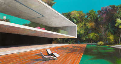 nature wall art: Modern house with pool 2 by Jens Hausmann