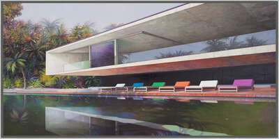 curated Bauhaus artwork: Modern house with pool by Jens Hausmann