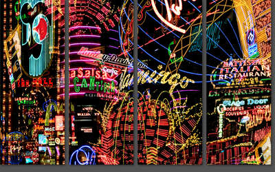 curated multi piece artworks: Las Vegas Lights Cantina Tetraptych by Jenny Okun