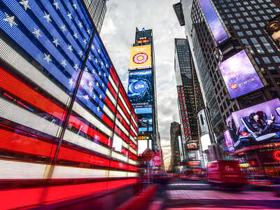 Stars and Stripes at Times Square by Johannes Weinsheimer