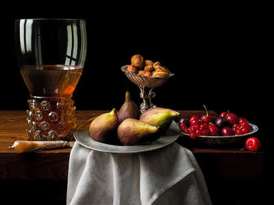 Still life with figs and cherries by Kevin Best