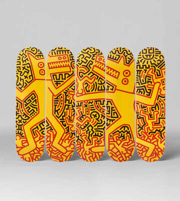 Curated abstract yellow artworks: Monsters by Keith Haring