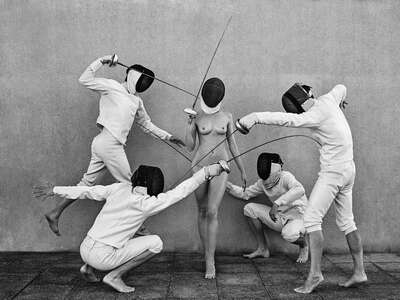 Art Prints: LUMAS black and white works: Fencers 4 by Lukas Dvorak